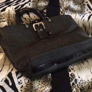 Ann Taylor Black Coated Linen Bag Wood Handles